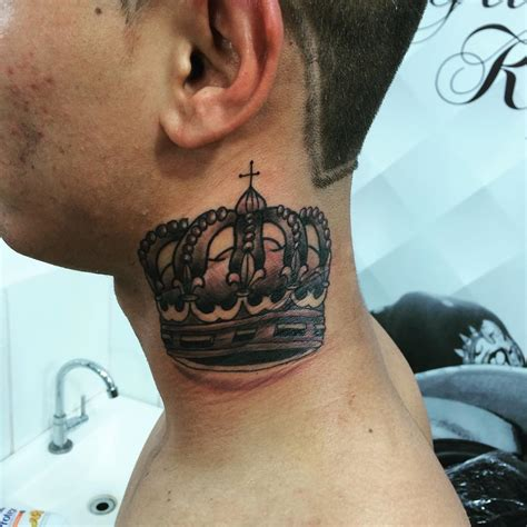 neck tattoos 57 adorable crown neck tattoos