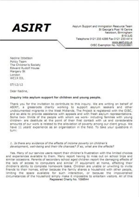 Asylum Support Letter Sle Asylum Support And Immigration Resources Team Asirt Contribution To Inquiry Into Asylum