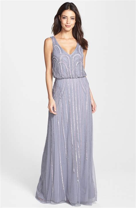 beaded mesh blouson gown s papell beaded mesh blouson gown