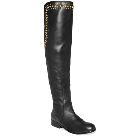 betsey johnson boots betsey johnson shanah the knee studded boots in black