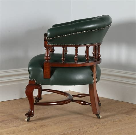vintage green leather office chair antique mahogany green leather office desk chair