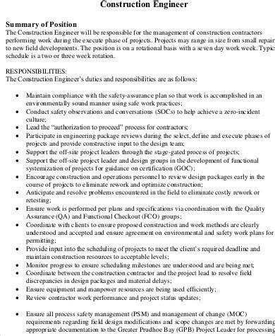 field engineer description 11 construction description sles sle templates