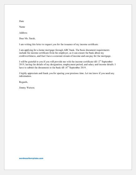 request letter income certificate word excel templates