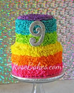 How To Decorate A Rose Cake Electric Rainbow Buttercream Ruffles Cake Rose Bakes