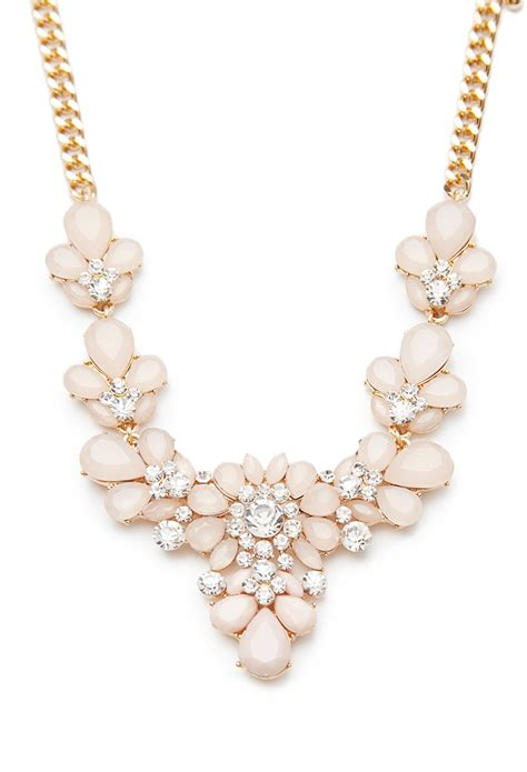 Flower Jewelry Necklace Pink by Lyst Forever 21 Rhinestone Flower Statement Necklace In Pink