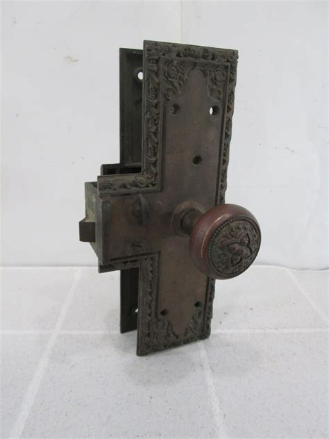 How To Restore Brass Door Hardware by Large Antique Ornate Door Knob Back Plate Lock Set For