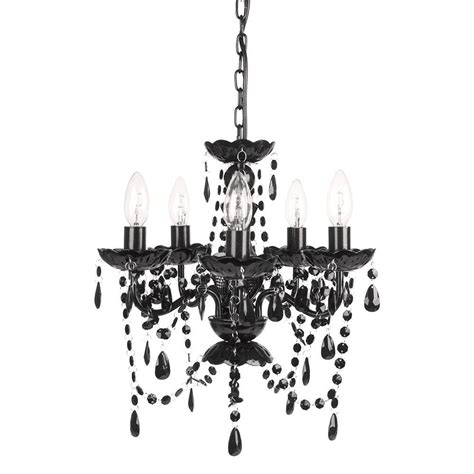 5 Light Black Chandelier Tadpoles 5 Light Black Onyx Chandelier Cch5pl020 The Home Depot