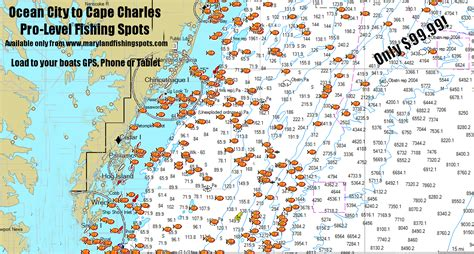 maryland fishing map gps fishing spots from city to cape charles