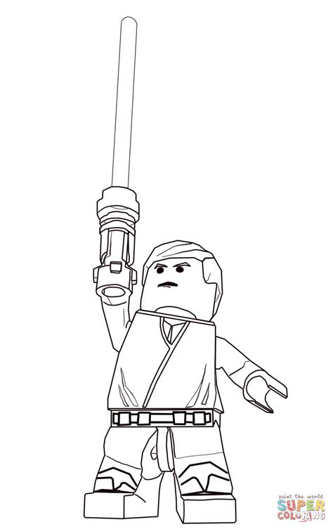 lego star wars luke skywalker coloring page free
