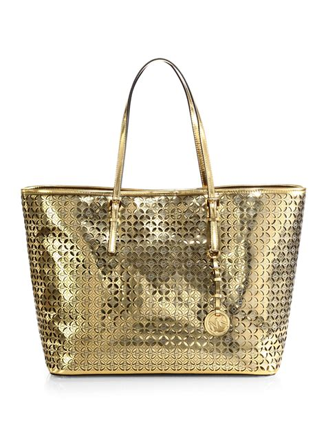 New Motif Michael Kors Specchio Shopping Tote 4in1 lyst michael michael kors floral perforated metallic medium travel tote in metallic