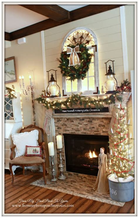 country christmas mantel decorating ideas from my front porch to yours cozy farmhouse mantel welcome home tour