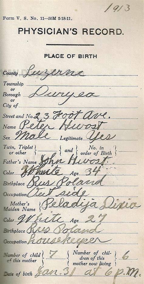 Birth Records Pennsylvania Duryea Pennsylvania Historical Homepage Wanda 1910 To 1931 Birth Records Page