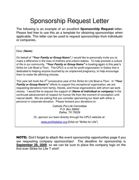 sponsorship request letter sample letters