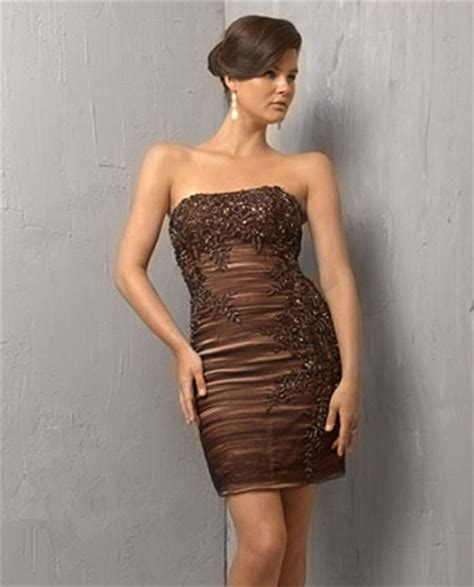 Id315 Strapless Brown Lace Dress vintage tight strapless mini brown cocktail evening