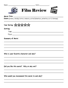 Movie Review Template By Lisa Gerardi Teachers Pay Teachers Book Review Template High School Pdf