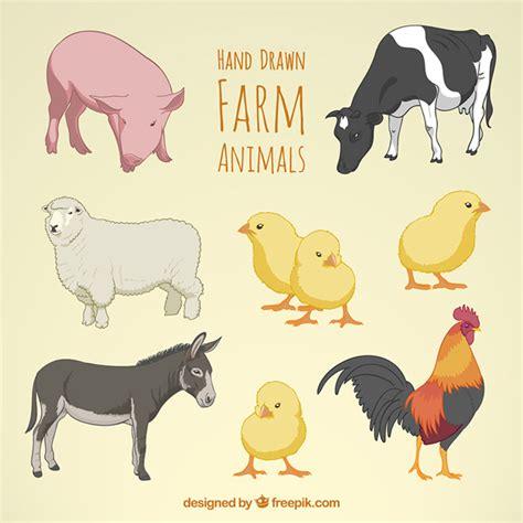 new year animal colors animales de granja dibujados a mano descargar vectores