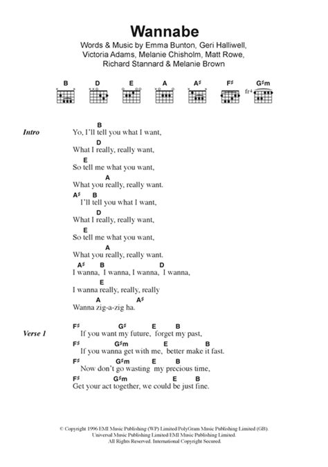 lyrics spice wannabe wannabe sheet by the spice lyrics chords 123371