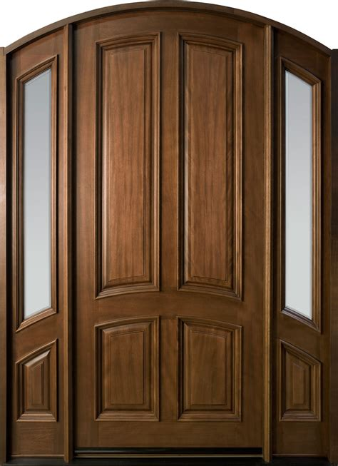 Entry Door In Stock Single With 2 Sidelites Solid Wood Wood Door Exterior