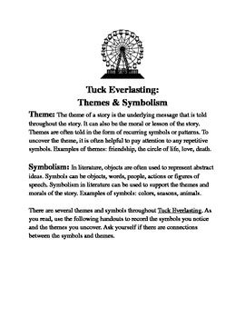 Themes & Symbolism in Tuck Everlasting by Sarah Donn | TpT