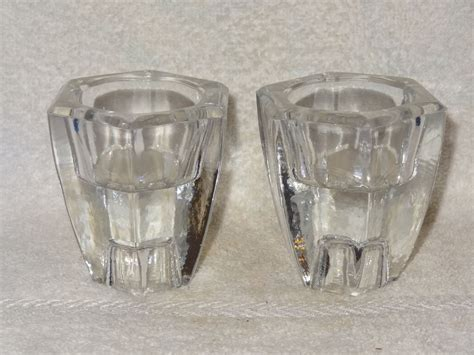 pair heavy glass reversible candle holders taper or votive new in box ebay