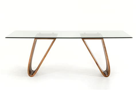 Walnut And Glass Dining Table Modrest Draper Contemporary Walnut Glass Dining Table