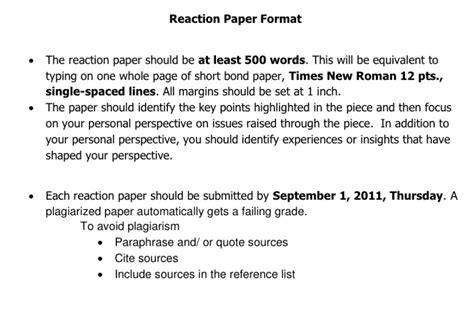 How To Start A Reaction Paper About A