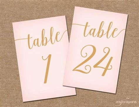 wedding table number printable 4x6 instant by instant download printable table numbers 1 30 blush