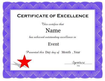 free printable certificate of excellence template a certificate of excellence template in pdf and doc