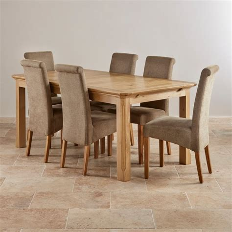 Dining Table 6 Fabric Chairs Edinburgh 6ft Extending Oak Dining Table 6 Plain Chairs