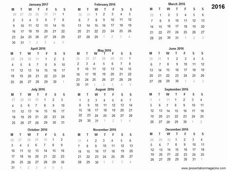 Free 2016 Printable Calendar Template Free Templates 2016