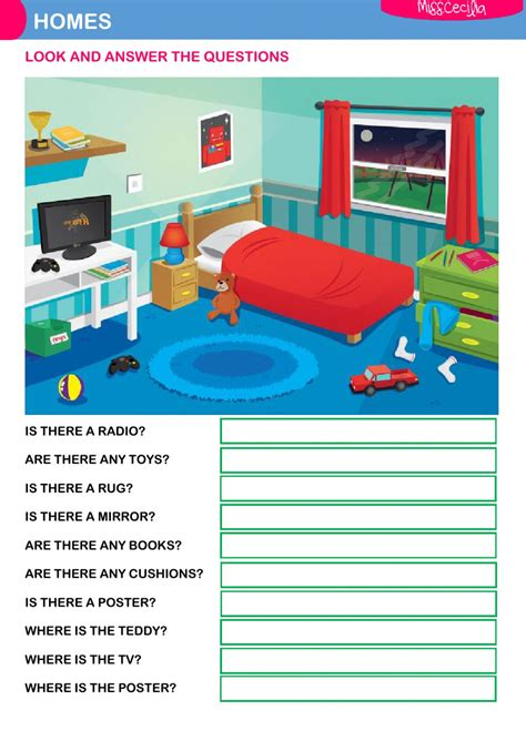 best bedroom exercises my bedroom questions interactive worksheet