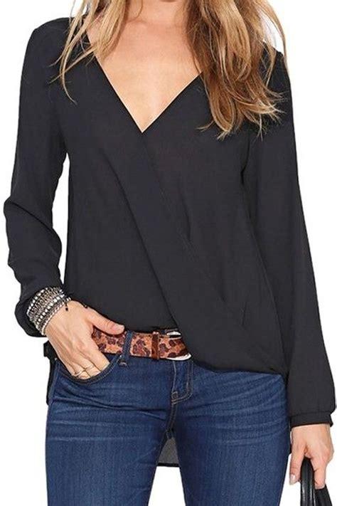 black plain pleated v neck sleeve casual