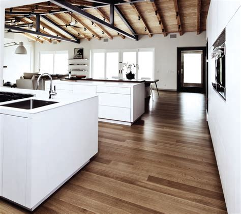white oak wood flooring Kitchen Modern with ceiling