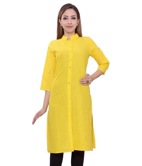 yellow kurti pattern inaraa designs yellow cotton straight kurti buy inaraa