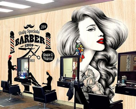 hair dressing personalities beibehang simple fashion personality 3d wallpaper beauty
