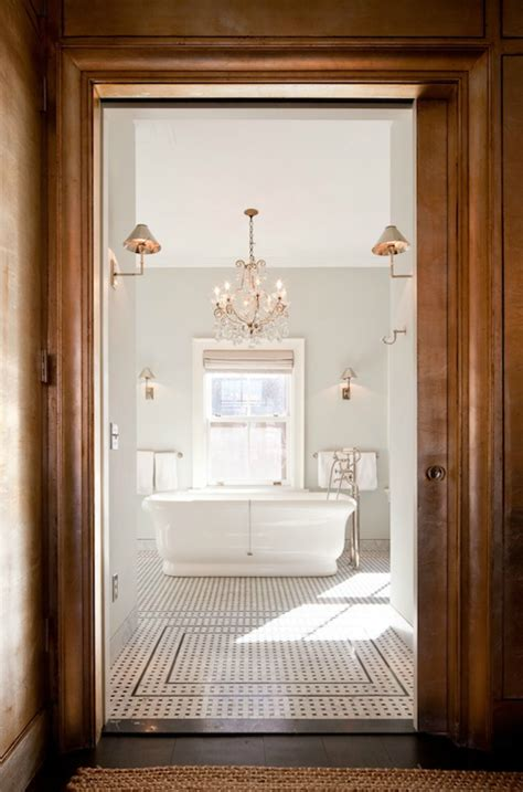 nate berkus bath chandelier above bathtub transitional bathroom nate