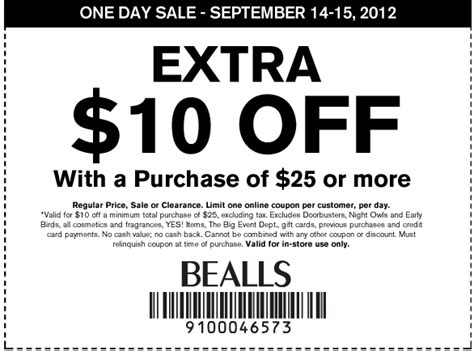 printable coupons bealls outlet bealls department store 10 off 25 printable coupon