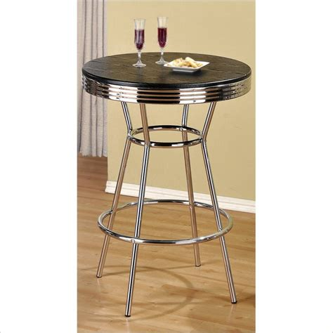 Vintage Bar Table Not Available Poundex Retro Metal Bar Table In Chrome F2009