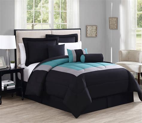 7 piece rosslyn black teal comforter set ebay