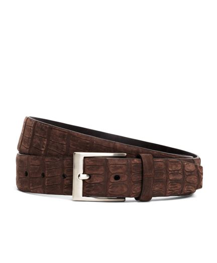 shop brothers sueded crocodile leather belt in