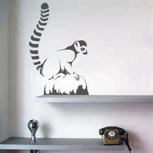 Wildlife Wall Stickers Wall Decals Ring Tailed Lemur Sitting On Rock Wall