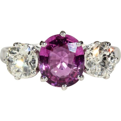 antique edwardian pink sapphire and 3