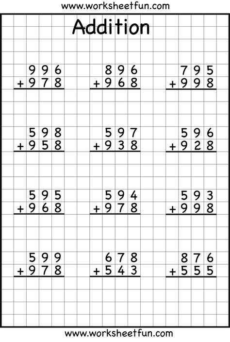 free printable math worksheets no regrouping 3 digit addition with regrouping carrying 6 worksheets