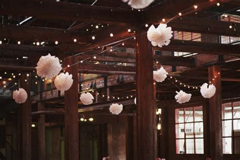 tissue poms string lights ceiling draping pics