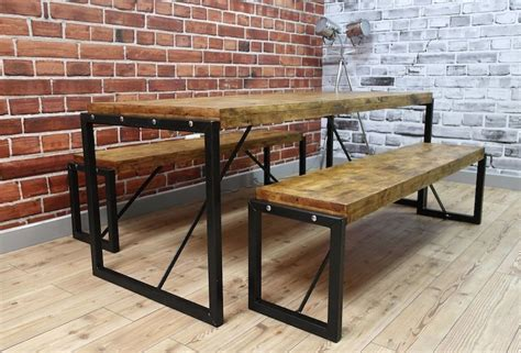 wooden table and bench set industrial steel reclaimed wood dining table benches