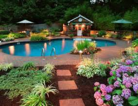 Pool Landscape Lighting Ideas Outdoor Landscape Lighting Ideas Around Pool With Flower And Garden Cdhoye