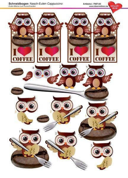 3d Eulen Aufkleber by 3 D Schneidbogen Din A4 Nasch Eulen Cappuccino Design