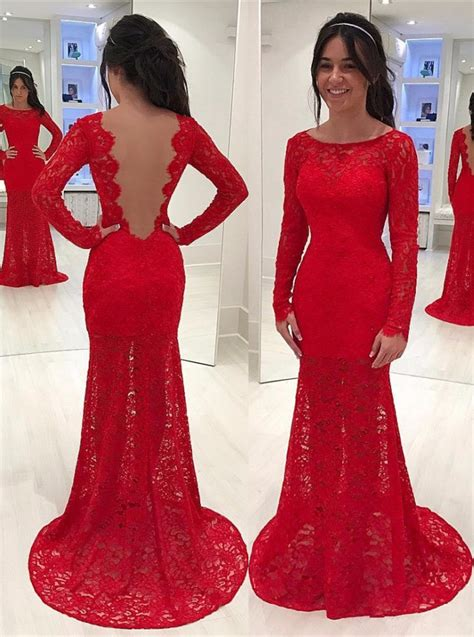 Lace Mermaid Evening Gown mermaid lace prom dresses 2018 sleeves
