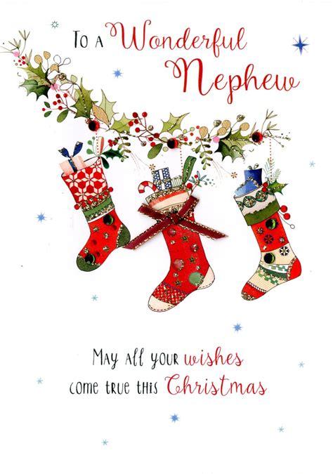 wonerful nephew embellished christmas card cards