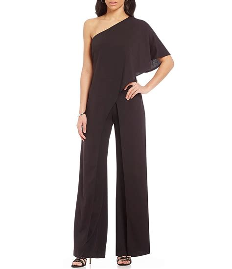 one jumpsuit with papell crepe one shoulder jumpsuit dillards
